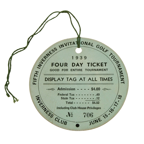 Vic Ghezzi Signed 1939 Fifth Inverness Inv. Golf Tournament 4 Day Ticket JSA ALOA
