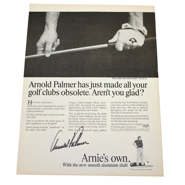 Arnold Palmer Signed 'Arnie's Own' Advertising Magazine Page JSA ALOA
