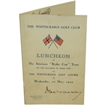1929 Ryder Cup Teams Signed Luncheon Menu - Whitecraigs Golf Course - Hagen, Smith, others JSA ALOA