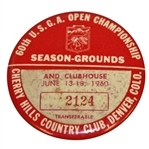 1960 US Open at Cherry Hills Season-Grounds & Clubhouse Badge #2124 - Arnold Palmer Winner