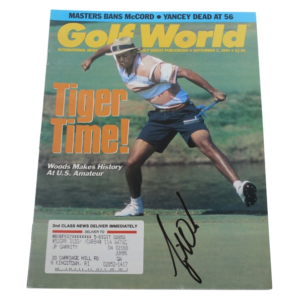 Tiger Woods Signed September 2, 1994 'Tiger Time' Golf World Magazine JSA ALOA