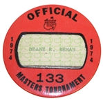 Deane Bemans 1974 Masters Tournament Official Badge #133 - Gary Player Winner
