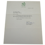 1959 Augusta National Letter to Deane Beman Confirming His Stay in the Dormitory - 1/30/59