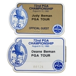 Deane and Judy Bemans 1990 PGA Championship at Shoal Creek Badges
