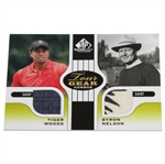 Tiger Woods & Byron Nelson Tour Gear Combo Game Used Golf Card - Two Shirts