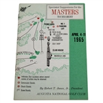 1965 Masters Tournament Spectator Guide - Jack Nicklaus Winner