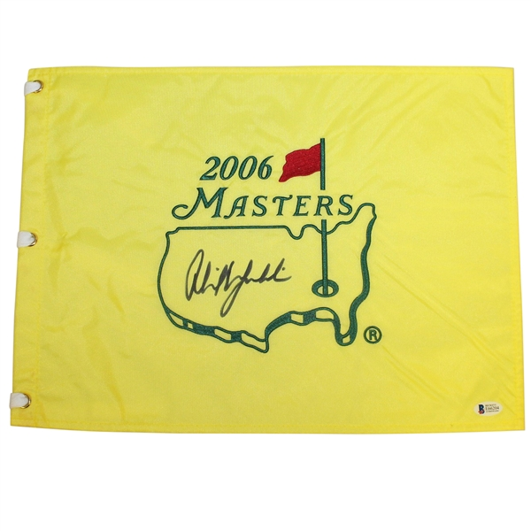 Phil Mickelson Signed 2006 Masters Embroidered Flag BECKETT #E66204