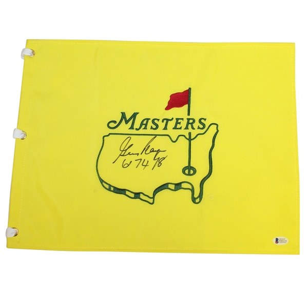Gary Player Signed Undated Masters Embroidered Flag with '61 74 78' Notation BECKETT #E66214
