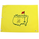 Fuzzy Zoeller Signed Undated Masters Embroidered Flag with 79 Notation BECKETT #E66177