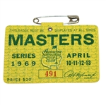 1969 Masters Tournament Series Badge #491 - Tommy Aaron Winner - Low Number
