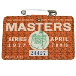1977 Masters Tournament Series Badge #24427 - Tom Watson Winner