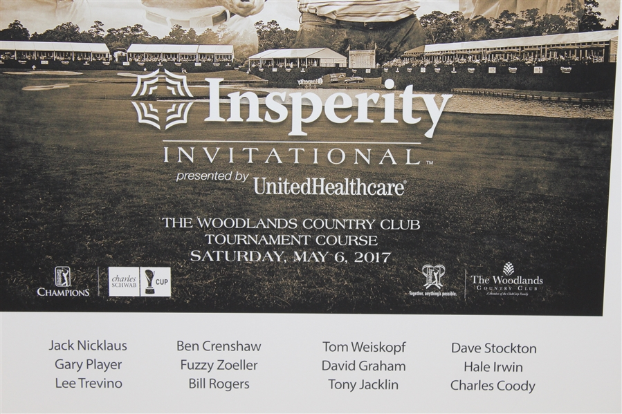 Multi-Signed 2017 Insperity Invitational Matted Poster - Nicklaus, Player, & others JSA ALOA