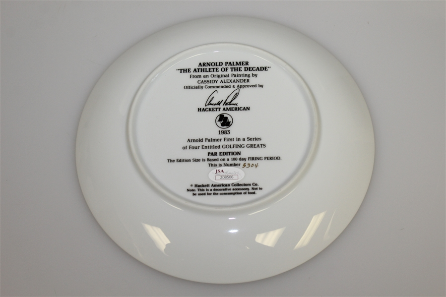 Arnold Palmer Signed Ltd Ed 1983 'Athlete of the Decade' Plate JSA #Z08506