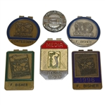 Four Furman Bisher Contestant Badges, a Media Badge, & Hole-In-One Coin