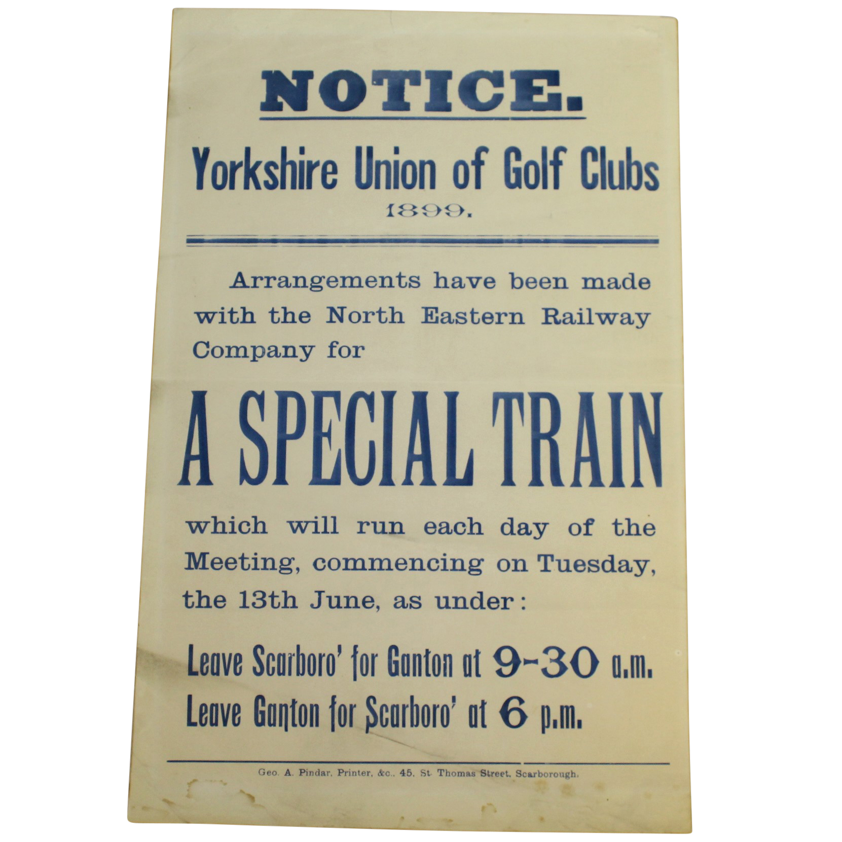 Lot Detail - 1899 Yorkshire Union of Golf Clubs North Eastern