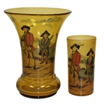 Vintage Blackheath Golfers on Copper Tone Glass Vase with Cup