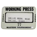 1964 Masters Tournament Working Press Badge #77 - Palmer 4th & Final Masters Win
