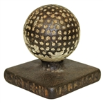 Cast Iron Golf Ball on Tee Desk Weight - Eastern Malleable Iron. Co. Naugatuck Stamped
