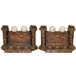 Pair of Carved Wooden Golf Themed Bookends - Golf Balls, Golf Bags, & Golf Clubs