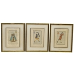 Set of Three F.T. Richards Hand-Colored Period Golfers - Glamour Paris 1955 - Framed