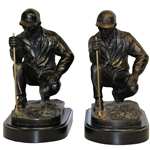 Two Crouching Lining Up the Putt Golfer Bookends - No Markings