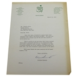 Augusta National Clifford Roberts Signed Letter to Charles Price March 18, 1963 JSA ALOA