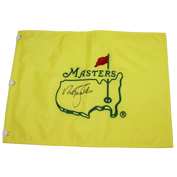 Nick Faldo Signed Undated Masters Embroidered Flag JSA ALOA