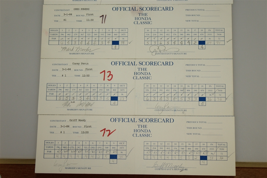 Six The Honda Classic Official Used Scorecards - Major Champs Signed JSA ALOA