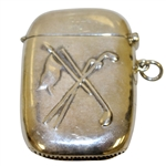 Sterling Silver Crossed Clubs & Flag Match Safe