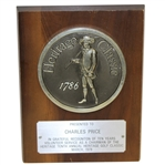 Charles Prices 1978 Heritage Golf Classic Ten Years as Chairman Recognition Plaque