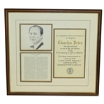 Charles Prices 1988 One of 100 Heroes of the First Century of Golf Award - Framed