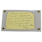Horton Smith Signed Album Page Cut with Personal Note JSA ALOA