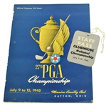 1945 PGA Championship Program & Clubhouse Staff Pass - Part of Nelsons 11 in a Row!