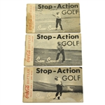 Three Sam Snead Coca-Cola Stop Action Golf Flip Books - Driver, 4-Iron, & Sand Wedge