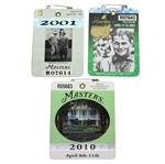2001, 2002, & 2010 Masters Tournament Series Badges - Woods(x2) & Mickelson