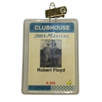 Robert Floyds 2001 Masters Tournament Clubhouse Badge - Tiger Woods 2nd Masters Win