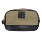 Augusta National Khaki Leather & Canvas Overnight/Shave Kit Bag