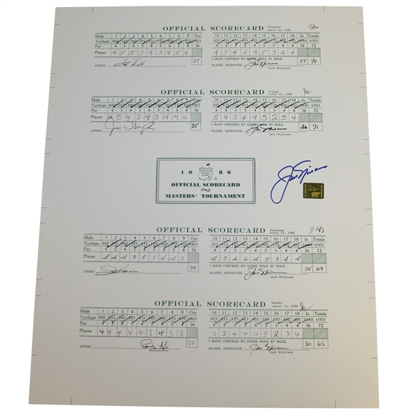 Jack Nicklaus Signed 1986 Masters Tournament Scorecard Display - Nicklaus Sticker COA