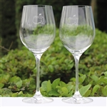 Masters Wine Glass Set w/ Frosted Etched Logo On Body
