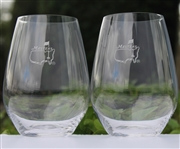 Masters Stemless Wine Glasses w/ Beveled Base & Etched Frosted Logo On Front