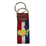 Masters Logo Keychain - Red, White, & Blue Stripes Background