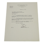 Bobby Jones Signed February 6, 1951 Letter to Coca-Cola Bottling Co. JSA ALOA