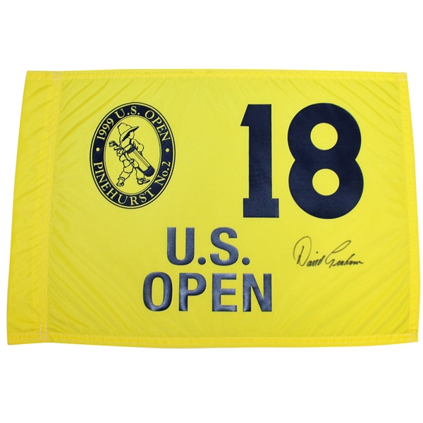 David Graham Signed 1999 US Open at Pinehurst No. 2 Yellow Flag JSA ALOA