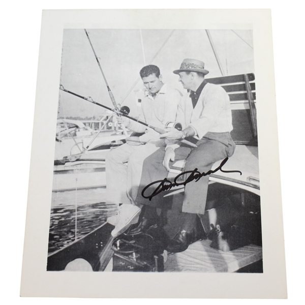 Sam Snead Signed B&W Fishing Photo with Ted Williams JSA ALOA