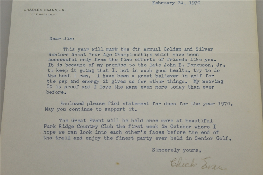 Chick Evans Signed 1970 Letter to Jim Chapin on Sidney Wanzer Letterhead with Envelope JSA ALOA