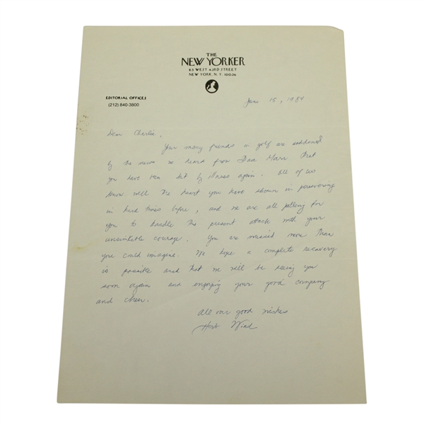 Herbert Warren Wind Signed Handrwitten Letter to Charles Price - June 15, 1984 JSA ALOA