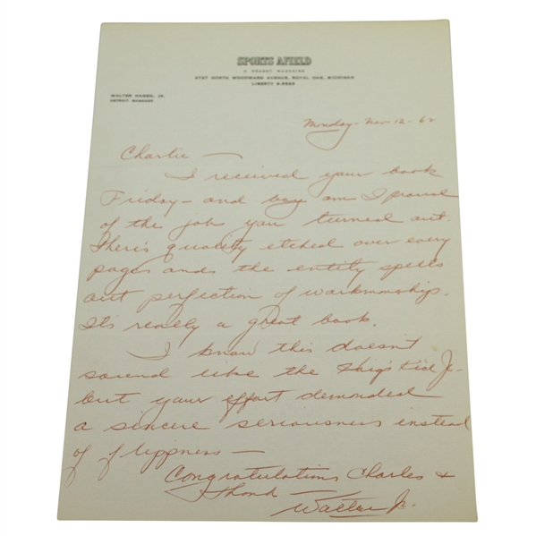 Walter Hagen, Jr. Signed Handwritten Letter to Charles Price - November 12, 1962 JSA ALOA