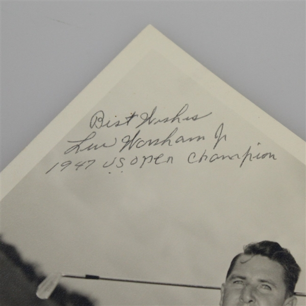 Lew Worsham (D-1990) Signed 8x10 Photo with 1947 US Open Champ Inscription JSA ALOA