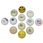 Twelve Miscellaneous Logo Golf Balls - Hole-In-One, Smiley Face, Holidays, and other