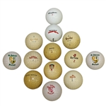 Thirteen Miscellaneous Logo Golf Balls - St Andrews, Burke, Armour, and other